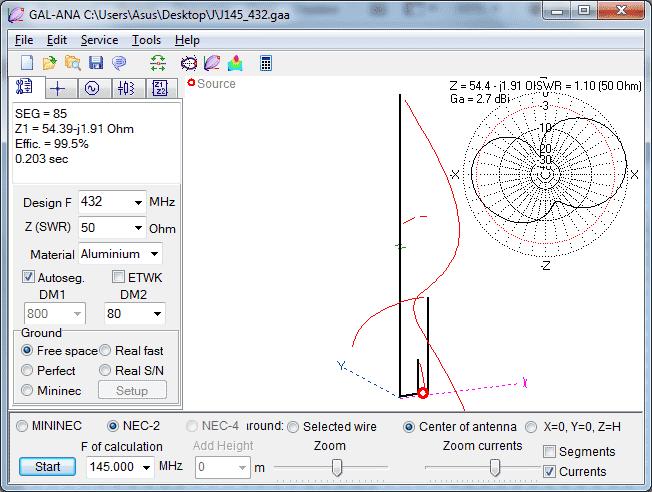 J-антенна 145\435 МГц - DL2KQ-EU1TT